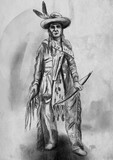 Native American. An hand drawn illustration, freehand sketching. - 219194897