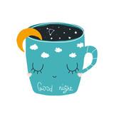 Good night cute print with fairy mug. Vector hand drawn illustration. - 219196437
