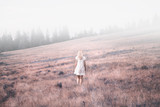 Back view of a woman in white dress walking on countryside meadow. Retro color tone filter effect used. - 219197448