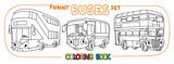 Funny buses with eyes set. Coloring book set