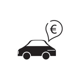 car and euro sign icon vector design illustration