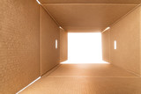View from inside a large rough cardboard box - 219204830