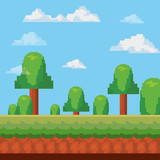 pixelated trees and landscape, videogame concept, colorful design. vector illustration