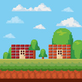 videogame interface with pixelated buildings and trees, colorful design. vector illustration
