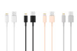 Leinwanddruck Bild - Multicolored 8 Pin Charger Cables for Smartphone. 3d Rendering