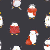 Watercolor christmas baby penguin pattern - 219234606