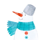 Watercolor winter snowman - 219234626