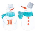 Watercolor winter snowman - 219234644