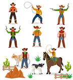 Cowboy vector western cow boy or wild west sheriff signs hat or horseshoe in wildlife desert with cactus illustration wildly horse character for rodeo set isolated on white background - 219241870