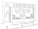 Cosmetics store shop exterior graphic black white sketch illustration vector - 219249052