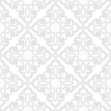Abstract geometry pattern in Arabian style. Seamless background. White and grey graphic ornament. - 219252253
