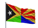 Viqueque City Flag On Flagpole, Country East Timor, Isolated On White Background - 219255078