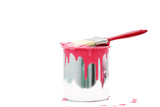 open, painted bucket and paintbrush on a white backdrop. - 219256257