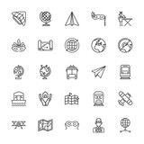 Collection of 25 plane outline icons