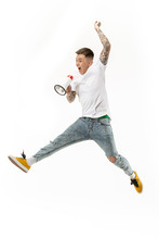 Jumping Fan   The Young Man As Soccer Football Fan  Megaphone Sticker
