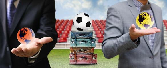 Travel for football business concept