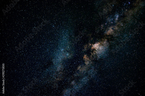 Fototapeta Across the galaxy over Maldives with copy space