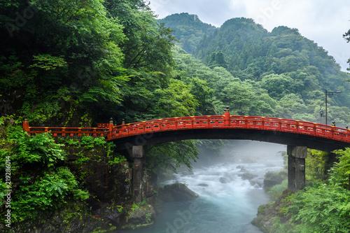 beautiful shinkyo bridge at Nikko, Japan - 219286014