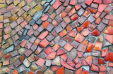 Detail of a beautiful old crumbling abstract ceramic mosaic building decoration, decorative background. Abstract design. Abstract mosaic colored ceramic stones - 219286681