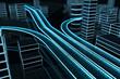 Leinwandbild Motiv 3D Datenautobahn von schräg oben