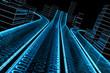 Leinwandbild Motiv 3D Datenautobahn von schräg dynamisch