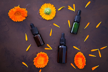 marigold or calendula essential oil © matka_Wariatka