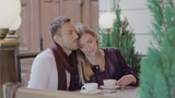 Romantic Couple Drinking Coffee On Date At Street Cafe - 219298255