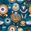 Folk floral seamless pattern. Modern abstract design - 219300832