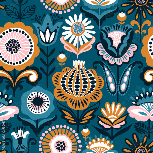 Fototapeta Folk floral seamless pattern. Modern abstract design