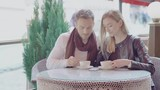 Romantic Couple Drinking Coffee On Date At Street Cafe - 219305600