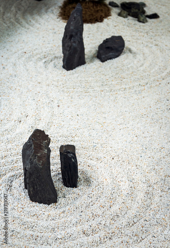 Decorations With Sand And Stones In The Japanese Garden. Garden Decorations