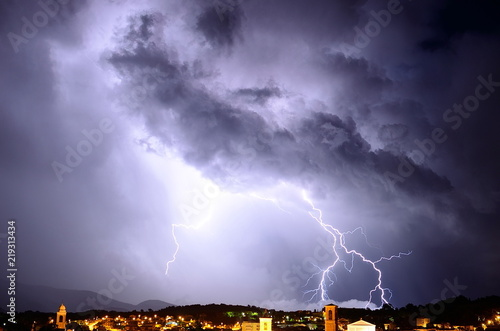 Fototapeta Lightning on the city