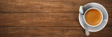 cup of espresso / coffee on wooden board - 219317241