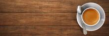 """Постер, картина, фотообои """"cup of espresso / coffee on wooden board"""""""