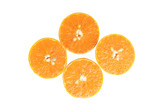Top view mandarin slice isolated on white background