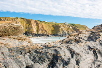 Rock formation at Polurrian Bay Beach Mullion West Cornwall South England UK