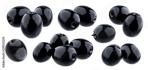 Black olives isolated on white background - 219323234