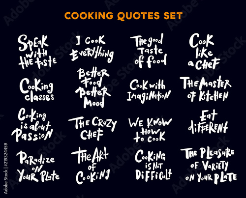 Cooking Quotes Inspiration Set Of Hand Written Lettering Quotes And Phrases About Cooking