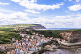A view of the North Yorkshire UK villages of Staithes and Cowbar, seen here from from Penny Nab headland. - 219324802