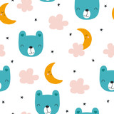 Childish seamless pattern with bear, clouds and moon. Cute bedtime print for fabric. Vector hand drawn illustration. - 219330202