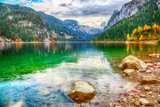 Beautiful view of idyllic colorful autumn scenery in Gosausee lake Austria - 219332284
