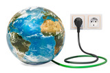 Earth Globe with power plug into electrical socket. Green energy concept. 3D rendering - 219334238