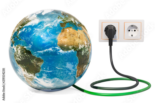 Fototapeta Earth Globe with power plug into electrical socket. Green energy concept. 3D rendering