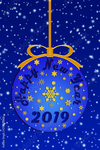 blue new years ball with new years greetings on a blue new years background