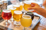 Female Hand Picking Up Glass of Micro Brew Beer From Variety on Tray - 219338413
