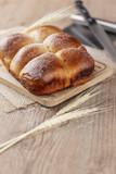 Brazilian Homemade bread on top of a wooden countertop - 219358643