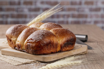 Brazilian Homemade bread on top of a wooden countertop