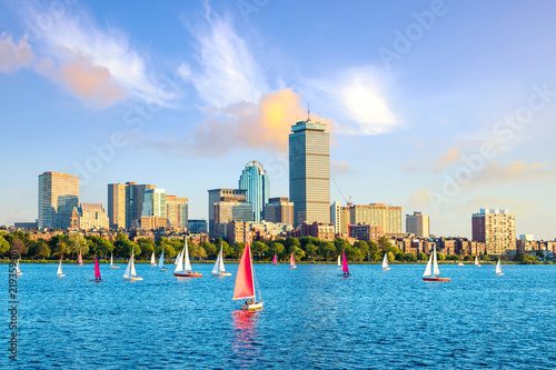 View of Boston Skyline in summer afternoon - 219359461