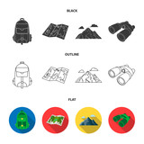 Backpack, mountains, map of the area, binoculars. Camping set collection icons in cartoon style vector symbol stock illustration web. - 219394402