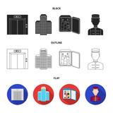 Elevator car, mini bar, staff, building.Hotel set collection icons in cartoon style vector symbol stock illustration web. - 219394639